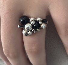 Harald Nielson For Georg Jensen Moonlight Moon Light Grapes Onyx Ring Size 57 M