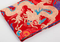 "1/2 YD X 30"" SILK DAMASK JACQUARD BROCADE FABRIC PIECE: CHINA DRAGON ="