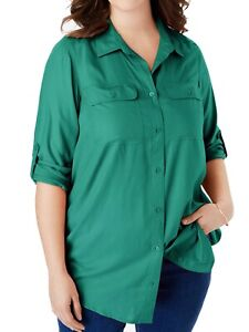 Woman Within roll tab tunic blouse plus size 18-38 Longline Green Shirt 494