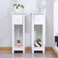 Pair of Tall Slim Bedside Telephone Tables Narrow Bedroom Hallway Paulownia Wood