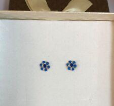 orecchini bambina lobo argento 925% rodiato anallergico fiore smalto blu
