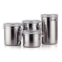 Stainless Steel Container Jar Set Kitchen Storage Coffee Sugar Tea Seasoning Box