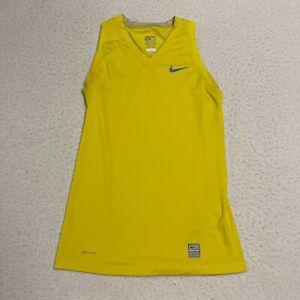 Nike Pro Size Extra Small XS Women's Activewear Top Yellow Sleeveless Shirt
