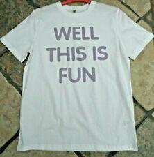 """Neue ironisch """"und das ist lustig"""" Weiß Baumwolle T-Shirt, Größe M, Rapanui Custom"""