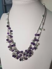 925 sterling silver double layer /pearl/Amethyst and Aventurine Necklace
