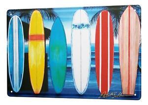 "Fun Tin Sign Wall Decor Plate Surfboards on beach Metal Wall Plate 8X12"""