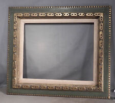 Vintage GREEN Carved Gilt Wood Spanish Baroque Revival Picture Frame 16x20 1960s