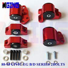 Motor Mount Kit For 88-95 89 90 Honda Civic EG 2 bolt B16 D20 B D Series Red