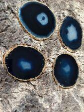 Blue Agate 24ct Gold Edge, Gilded, Quartz Premium Coasters (set of 4)