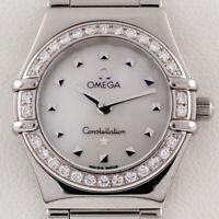 Omega Women's Stainless Steel Quartz Constellation Watch MOP Dial Diamond Bezel