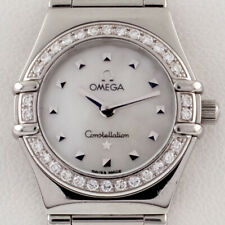 Omega Women's Stainless Steel Quartz Constellation Watch MOP Dial Diamond Bezel