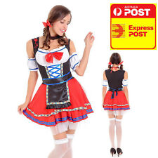 OKTOBERFEST BEER GIRL COSTUME RED BLUE MEDIUM 6 8 10