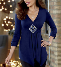 Monroe and Main Shanel Blouse Top Blouse Medallion Center Navy Blue Size Large