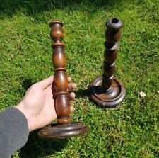 More details for pair of edwardian tall turned oak wooden  candlesticks