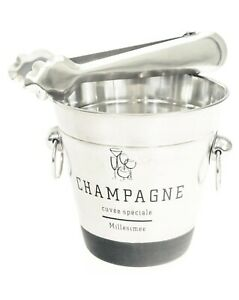 Mirror Polished Ice Cube Serving Bucket with Tongs