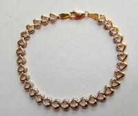 14K Gold Heart Pattern Tennis Bracelet Set With Pave Diamonds  7 1/4'' Long