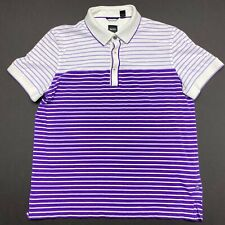 Hugo Boss Regular Fit Purple White Striped Cotton Golf Polo Shirt Mens Medium M