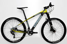 "STRADALLI CARBON FIBER HARDTAIL MTB BIKE BLUE YELLOW 27.5"" 650B SHIMANO XT M 17"""