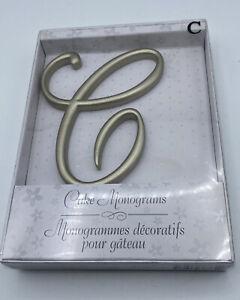 """Lillian Rose Monogram Wedding Anniversary Cake Topper Letter C Gold 5"""" New"""