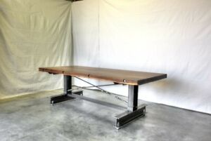 Industrial Handmade Dining Conference Table Live Edge American Walnut