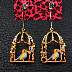 Betsey Johnson Rare Alloy Rhinestone Enamel Birdcage Bird Drop Earrings Jewelry