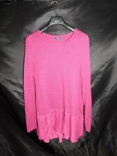 Lucky Brand 2X Raspberry Pink Lace Mix Sweater Hip Length Long Sleeve Top 2XL