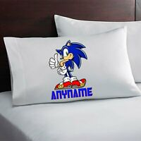 Personalized Sonic The Hedgehog Pillow Case Custom Made w. Your Name