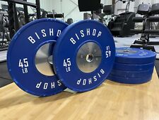 Set of 6, 45 lb Bishop Blue Competition Bumper Plates, Olympic