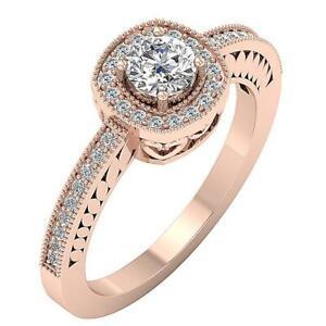 Milgrain Halo Solitaire Engagement Ring I1 G 0.90 Ct Real Diamond 14K Rose Gold