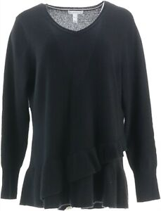 Isaac Mizrahi 2-Ply Cashmere V-Neck Ruffle Peplum Sweater Black 3X NEW A343270