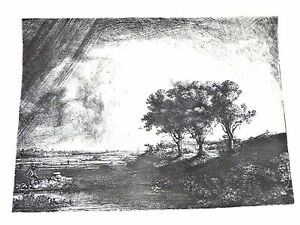 Print-'The Three Trees' by REMBRANDT- Etching Nat'l Gallery of Art, Wash.