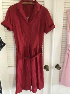 Vtg 60s Red Shirtwaist Dress Short Sleeve Sz L