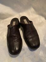 Brighton Womens Sz 8 Brwn Leather Uppers Stitched Design Slip On Mules Shoes