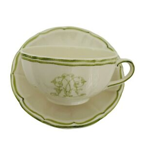 French Yves Delorme Paris Gien China Cup & Saucer Set France Green