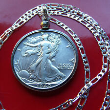 "Silver Walking Liberty Half Dollar Pendant on a  22"" 925 Sterling Silver Chain"
