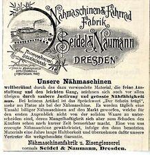 Nähmaschinen & Fahrrad Fabrik Dresden Historische Reklame von 1893