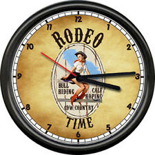 Rodeo Cowgirl Horse Barrel Racing Sign Gift Poster Western Decor Farm Wall Clock