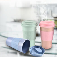Outdoor Wheat Straw Plastic Coffee Cups Travel Camp Mug With Lid Travel Drink