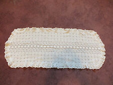Collectible Eyelet Lace Doily Table Runner White Machine Embroider 28 x 11 CUTE