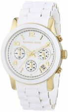 Michael Kors MK5145 Chronograph Women's White Silicone & Gold Steel Watch New