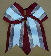 "8"" Burgundy/maroon, silver, White, Big Cheer Bow, Softball, Cheerleading Soccer"