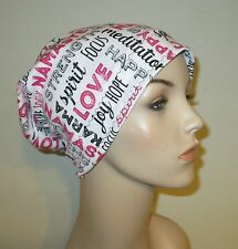 Chemo Inspiring Words Slouch Hat l  Alopecia  Chemo Hat Cancer HaCotton Stretch