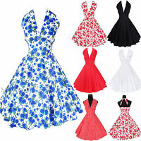 Maggie Tang 50s VTG Marilyn Halter Floral Rockabilly Pinup Party Dress R-504