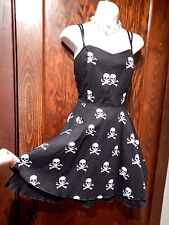 ROCK STEADY SKULL DRESS black pin up goth rockabilly retro bombshell swing L 1F