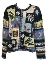 Tiara Petites Women's Christmas Zipper Sweater Petite Blue Size PXL