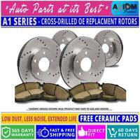 [Front+Rear Kit]Premium Cross Drilled-4 Disc Brake Rotors + 8 Ceramic Brake Pads