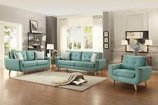 Deryn 3PCs Classic Mid-Century Tufted Teal Fabric Sofa Loveseat Set