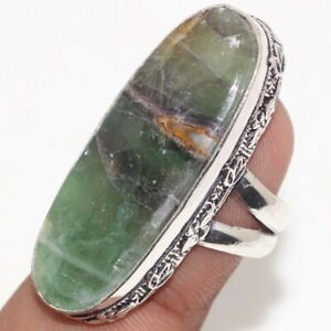 Green Fluorite 925 Silver Plated Gemstone Handmade Ring us 6 Unique Jewelry GW