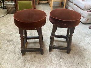 Vintage Pub Stools x 2 Brown Wooden Frame Velvet Upholstery Top