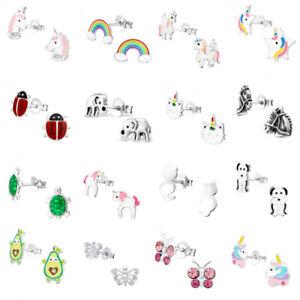Sterling Silver Earrings Studs Elephant Dog Cat Heart Daisy Unicorn Rainbow Kids